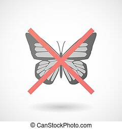 Not allowed icon with a butterfly