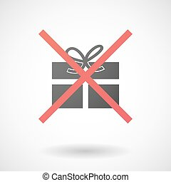 Not allowed icon with a present - Illustration of a not...