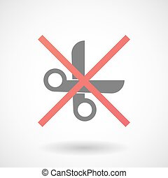 Not allowed icon with a scissors