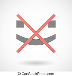 Not allowed icon with a smile text face