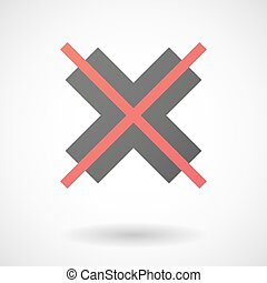 """Not allowed icon with an """"X"""" sign"""