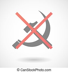 Not allowed icon with  the communist symbol