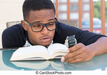 Not enough time - Closeup portrait, nerdy young man in big...