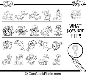 not fit in a row game coloring book - Black and White...