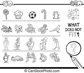 not fitting picture game coloring page - Black and White...