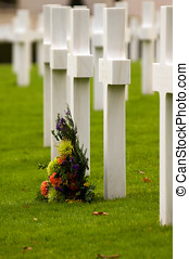 Not Forgotten - Flowers in front of grave stones at the...