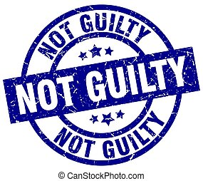 not guilty blue round grunge stamp