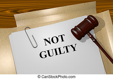 Not Guilty concept - Render illustration of Not Guilty title...