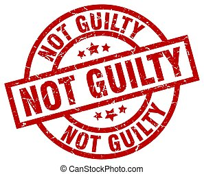 not guilty round red grunge stamp