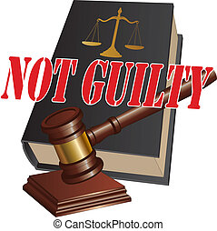 Illustration of a design representing a not guilty verdict as the outcome of legal proceedings in a court of law.