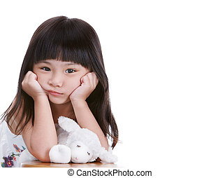 not happy - not a happy little girl, white background