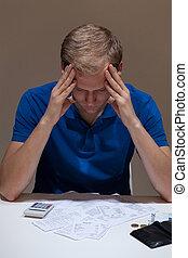 Not having money to pay bills - Man not having money to pay...