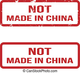 Not Made In China. Grunge Rubber Stamp Set. For Any Background. Vector illustration