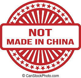 Not Made In China. Red Rubber Stamp. For Any Background. Vector illustration