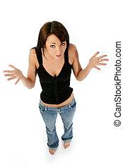 Not Me! - Young woman shrugging shoulders. Full body shot...