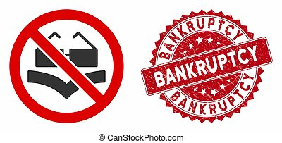 Not Read Books Icon with Textured Bankruptcy Seal - Vector...