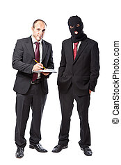 Not so trustworthy - two businessman on white background,...