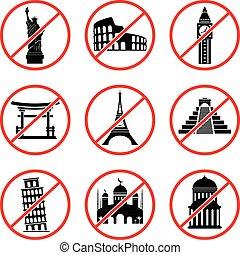 Not to visit landmarks icons