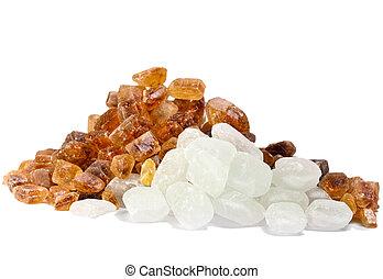 not, verfeinert, schilfgras, zucker, und, raffinierter zucker