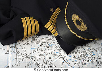 not worn captain uniform over an aeronautical navigation...