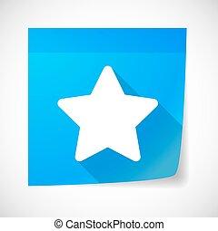 nota, ícone, estrela, pegajoso
