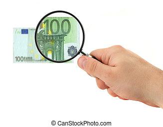 nota, 100, mão, magnificar, euro