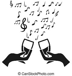 nota, alegrias, música, vidro, copo