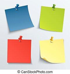 nota, alfinetes, papel, colorido, empurrão