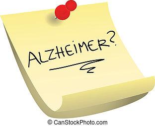 nota, alzheimer, appiccicoso