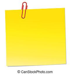 nota amarela, com, vermelho, clipe para papel