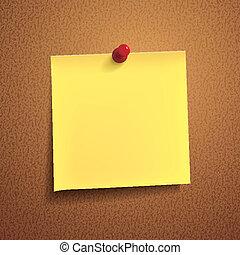 nota amarela, papel, com, alfinete, branco, fundo