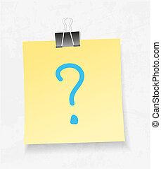 nota amarela, papel, e, prender, vector., marca pergunta