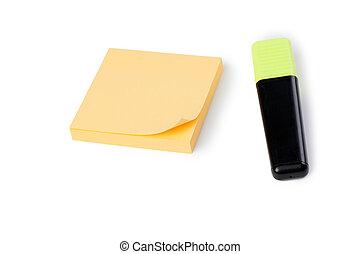 nota amarilla, papel, y, pluma