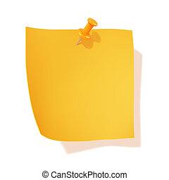 nota, amarillo, palo, alfiler