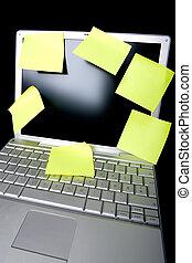 nota appiccicosa, su, computer
