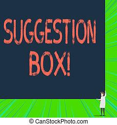 nota, aproximadamente, box., recipiente, something., negócio, foto, mostrando, comments, escrita, licença, lata, sugestão, showcasing