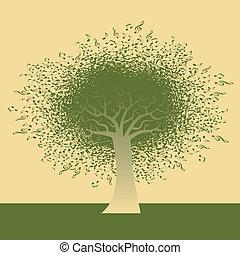 nota, astratto, albero, musicale