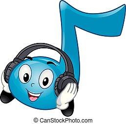 nota, auriculares, música, ilustración, mascota