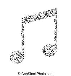 nota, bianco, musica, segno