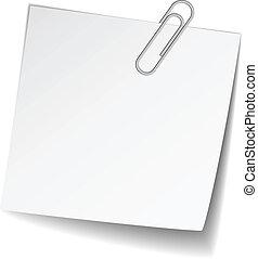 nota, bianco, vettore, carta, graffetta