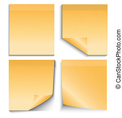 nota, blanco, aislado, amarillo, palo