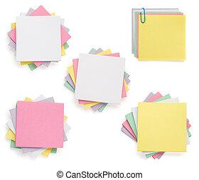 nota, blanco, papel