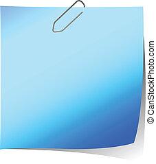 nota, blu, promemoria, illustrazione