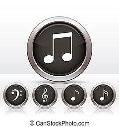 nota, botões, icon., jogo, música