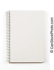 nota, branca, livro, isolado