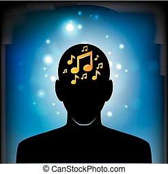 nota, cabeça, musical, ícone