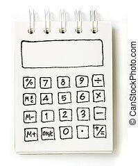 nota, calculadora, libro, blanco, dibujo