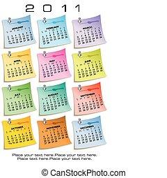 nota, calendário, papel, 2011