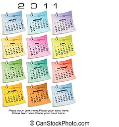 nota, calendario, carta, 2011