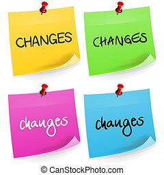 nota, cambios, pegajoso